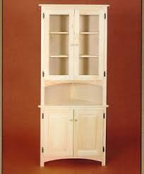 new amish unfinished solid pine corner hutch china cabinet rustic