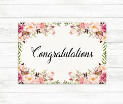 congratulations card printable congratulations card floral congrats card