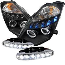 03 05 nissan 350z dual halo led black projector headlights day