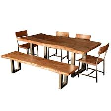 Dining Table Natural Wood Decor Endearing Natural Wooden Rustic Dining Room Table Using