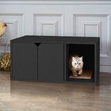 eco friendly cat litter box black wood grain cat furniture