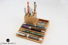 Pen Organizer For Desk Cherry Pen Tray With Desk Organizer Slot For 12 Extra Pens