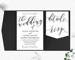 diy wedding invitation templates pocketfold invite etsy