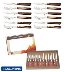 tramontina churrasco premium wood steak knife knives fork set of