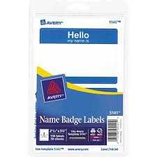 avery print or write name badge labels with blue border 5141 2 11