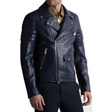 mens leather moto jacket navy blue leather motorcycle jacket