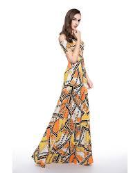 a line off the shoulder floral print floor length formal dress