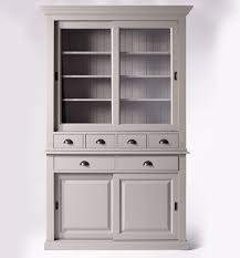 Vaisselier gris clair 4 portes coulissantes 6 tiroirs Made In