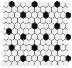 white hexagon black dot glazed ceramic mosaic floor and wall tile