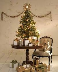 tiny tree on a table w burlap base this could work just