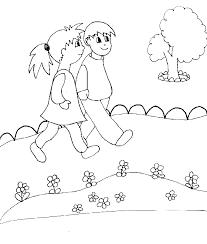 coloriage enfants en promenade tête à modeler
