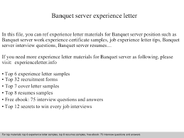 Banquet Server Resume Sample by Banquetserverexperienceletter 140901115503 Phpapp01 Thumbnail 4 Jpg Cb U003d1409572528