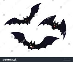 halloween bats background cute flying smiling bats set funny stock vector 497892343