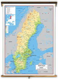 map of sweden sweden physical educational wall map from academia maps