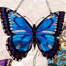 amia studios water cut small butterfly blue morpho jules