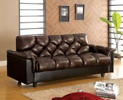sofa into bed furniture of america cm2120 bowie brown leather like fabric match