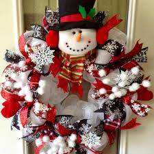 large adorable snowman deco mesh wreath wreaths