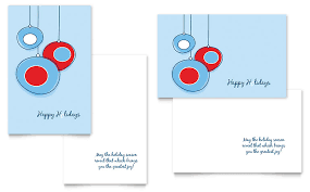 holiday ornament balls greeting card template word u0026 publisher