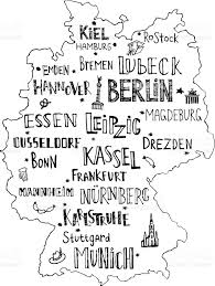 Map Of Hamburg Germany by Hand Drawn Map Of Germany With Lettering Of Main Cities And Main