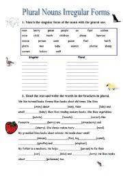 worksheet plural nouns irregular forms