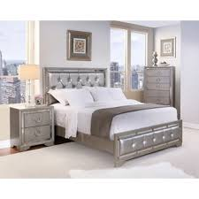 Deals On Bedroom Furniture by Celine 6 Piece Mirrored And Upholstered Tufted King Bedroom Set