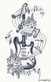 guitar tattoo electric guitar roses and music notes rock and