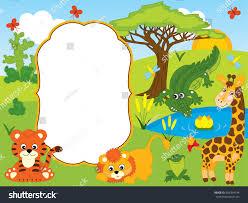 safari cartoon vector card template cute cartoon safari stock vector 664264144