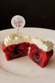 happy valentine u0027s day red velvet surprise cupcakes with white