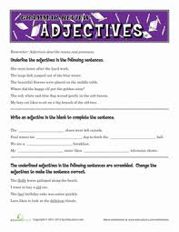 adjectives and articles worksheet worksheets