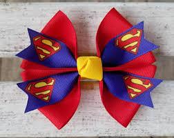 superman ribbon superman hair bow etsy