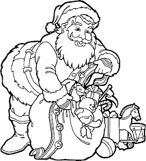 coloring pages santa busy gathering toys