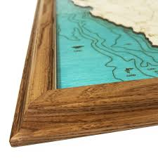 lake mendocino ca single depth nautical wood chart 8 x 10 on