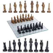 egyptian chess set with glass board 3 3 4 inch high chess pieces
