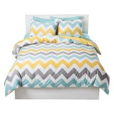 Yellow Patterned Duvet Cover Chevron Bedding Target
