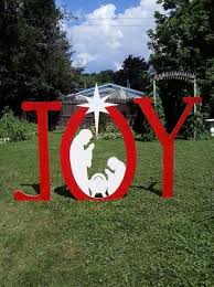 Outdoor Wooden Christmas Yard Decorations by Christmas Joy Outdoor Nativity Sign Mikesyarddisplays