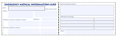 medication card template emergency contact card template