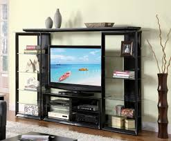 Wall Unit Furniture Black Modern Entertainment Wall Unit W Glass Shelves