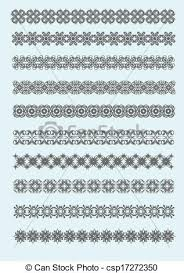 clipart vector of collection of ornamental rule lines in different