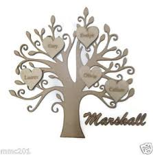 personalised wooden family tree with hearts mdf plywood