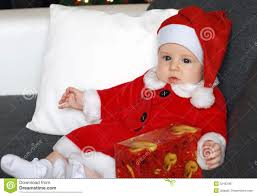 santa claus costume for toddlers little baby wearing a cute santa claus costume stock photo