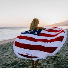 Beach Red Flag Red White U0026 Chill American Flag Round Beach Towel Roundie Towels