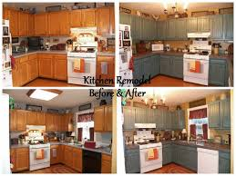 Painted Kitchen Cabinets Before After Before U0026 After Kitchen Remodel Slate Tile Countertops With Pewter