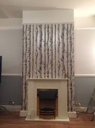 homebase birch wallpaper chimney breast chimney breast meets