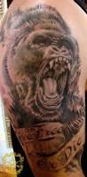 read complete traditional gorilla tattoo on leg by chad lambert