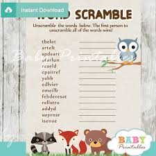 Free Baby Shower Scramble Games - woodland baby shower games bundle d137 baby printables