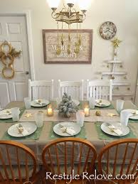 simple gold and green christmas dining table setting restyle relove