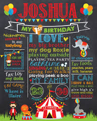 birthday signing board circus birthday chalkboard poster carnival birthday