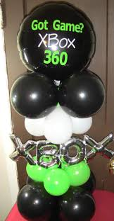 balloon centerpiece ideas personalized black and green xbox 360 balloon centerpiece by