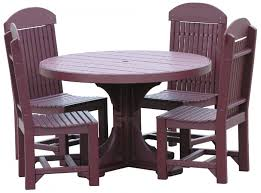 plastic round table and chairs poly table sets hardy lawn furniture amish built lawn furniture