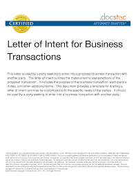 business letter of intent sample template